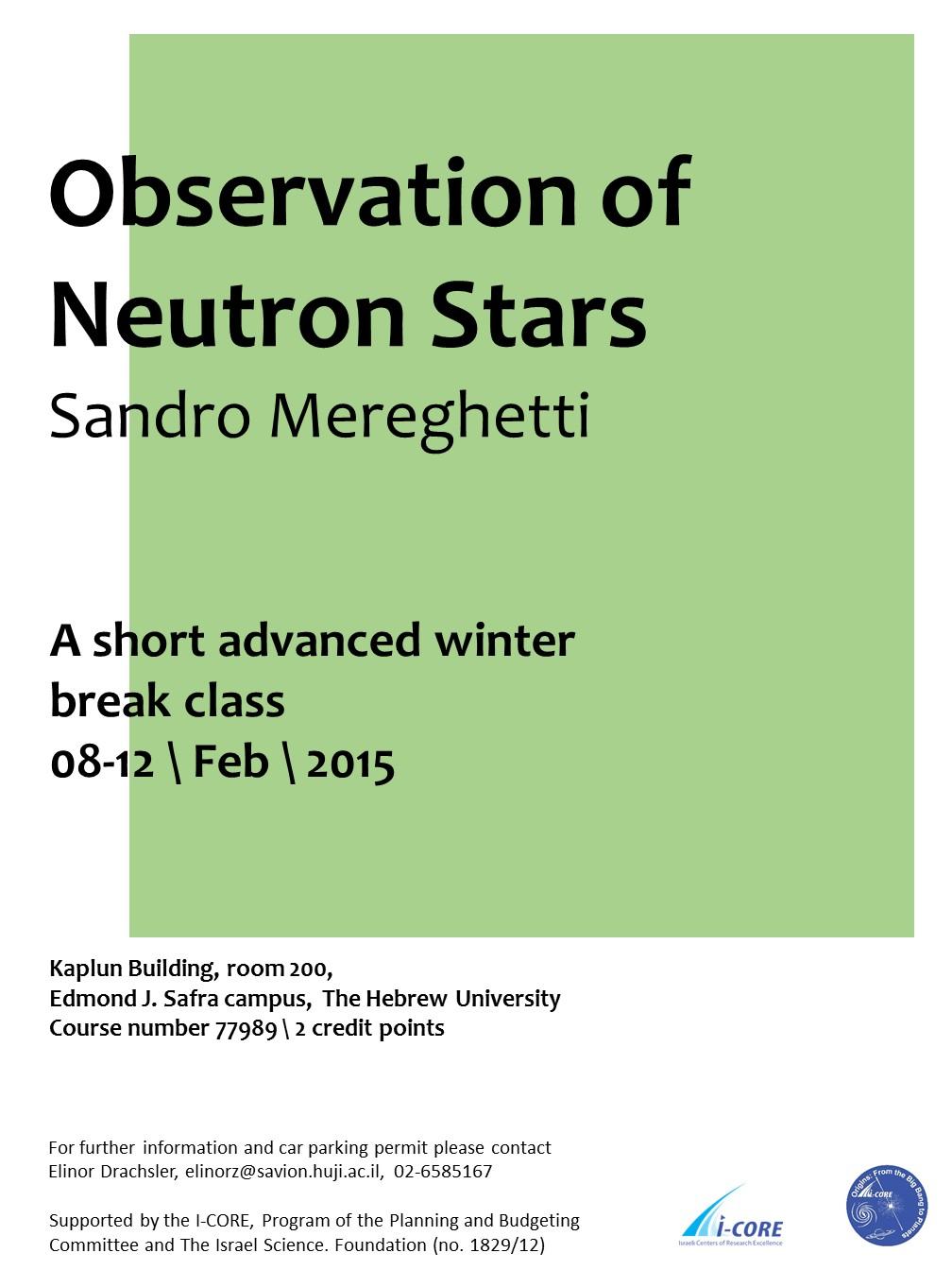 Class Observation Neutron Stars poster